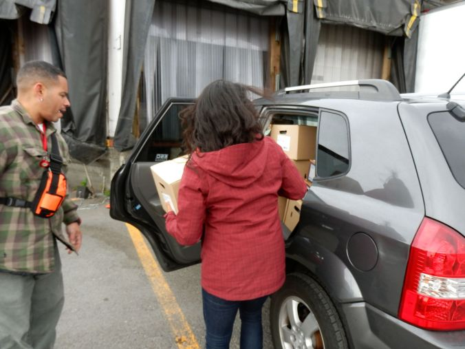 Loading produce into the car